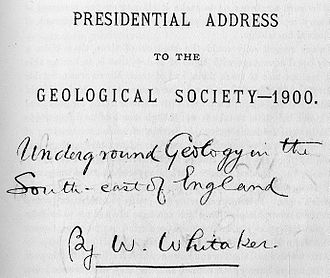 William Whitaker (geologist) - Image: Presidential Address to the Geological Society 1900
