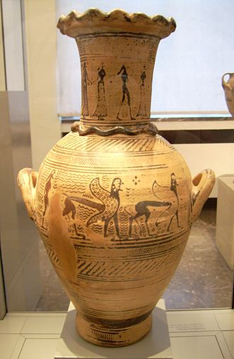 Mesogeia Painter - Early Proto-Attic hydria by the Mesogeia Painter, note applied plastic snakes on lip, neck and handle, suggesting a use in funerary cult; neck depicts women dancing with a youth, belly a man behind two sphinxes, circa 700 BC, from Athens, now Antikensammlung, Berlin.