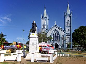 Puerto Princesa - View of the Immaculate Conception Cathedral and Rizal Park