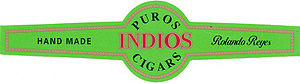 Cigar band of Puros Indios brand