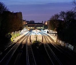 Putney Railway Station at dusk - March 2011.jpg