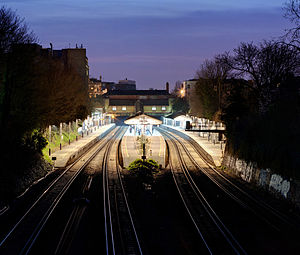 Putney railway station - Image: Putney Railway Station at dusk March 2011