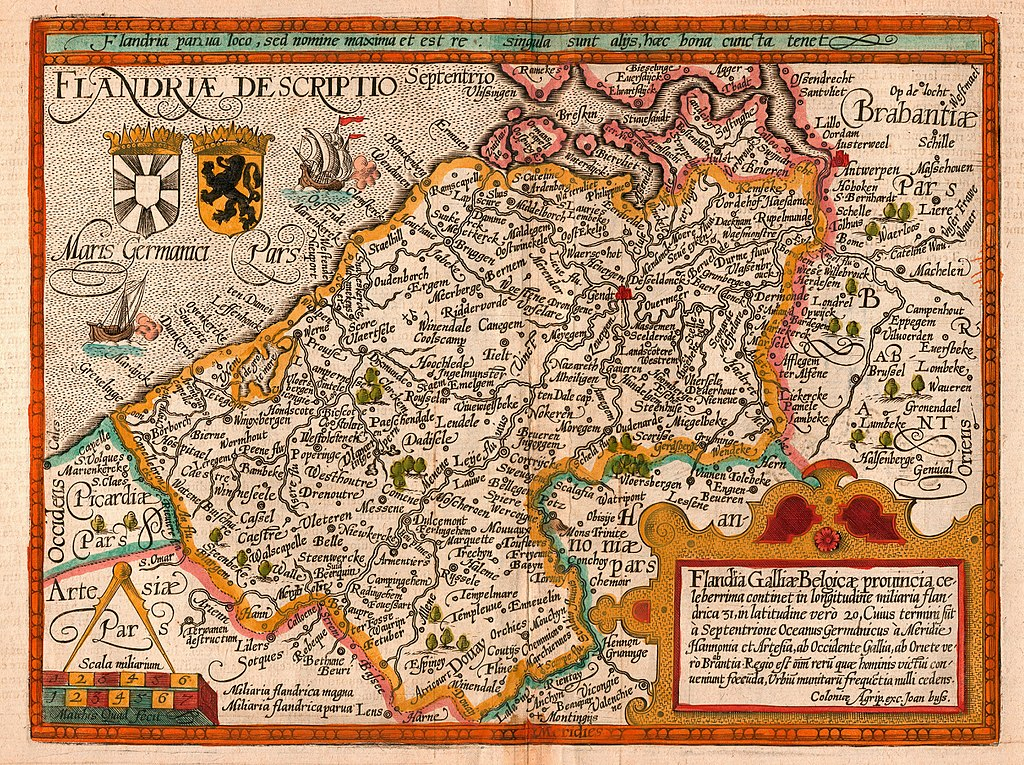 Map of the county of Flanders in 1608