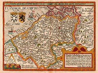 County of Flanders - Map of the county of Flanders from 1609 by Matthias Quad, cartographer, and Johannes Bussemacher, engraver and publisher, Cologne