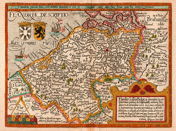 Map of the county of Flanders from 1609 by Matthias Quad, cartographer, and Johannes Bussemacher, engraver and publisher, Cologne Quad Flandria.jpg