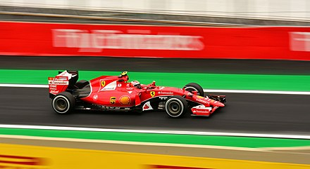 Kimi Raikkonen in the 2015 Brazilian Grand Prix. Raikkonen Brazil 2015.jpg
