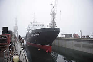 RIAN archive 987729 Viktor Faleyev hydrographic survey vessel floated out.jpg