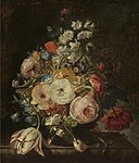 Rachel Ruysch - Bouquet of flowers in a glass vase.jpg