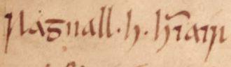 Owain ap Dyfnwal (fl. 934) - The name of Ragnall ua Ímair as it appears on folio 29r of Oxford Bodleian Library Rawlinson B 489.