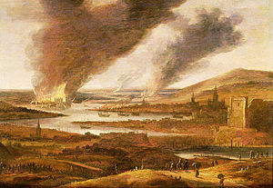 Upnor Castle - A picture by Willem Schellincks of the raid. The view is from the south. On the left Upnor Castle is silhouetted against the flames; on the opposite side of the river more to the front the burning dockyard of Chatham. To the north the conflagration near the chain is shown and on the horizon the ruins of Sheerness Fort are still smoking.