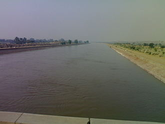 Bikaner district - Rajasthan Canal (Indira Gandhi Canal) passing through Thar desert near Chhatargarh Bikaner district