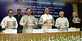 "Ram Nath Kovind and the Minister of State for Culture (Independent Charge), Tourism (Independent Charge) and Civil Aviation, Dr. Mahesh Sharma releasing a book entitled ""A Journey Through Bihar to Vihar"", in New Delhi.jpg"