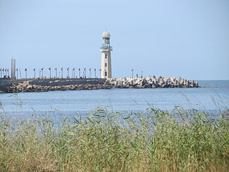 Ezbet El Borg - The Ras El Bar lighthouse seen from Ezbet El Borg.