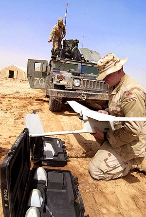 Miniature UAV - A soldier assembles a RQ-11 Raven in preparation for launch