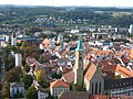 Ravensburg, Blick vom Mehlsack zur evangelischen Stadtkirche.JPG