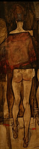 Rear view of a Female Half-Nude with Clothe. Egon Schiele 1913.jpg
