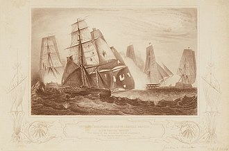 HMS Neptune (1797) - Engraving entitled Intrepid behaviour of Captain Charles Napier, in HM 18 gun Brig Recruit for which he was appointed to the D' Haupoult. The 74 now pouring a broadside into her. 15 April 1809, by G. W. Terry.