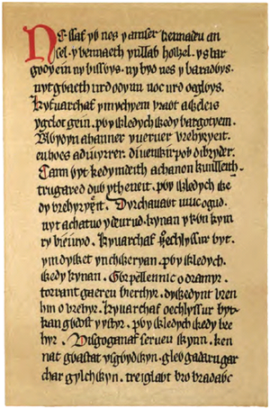 Red Book of Hergest - Facsimile of part of column 579 from the Red Book of Hergest
