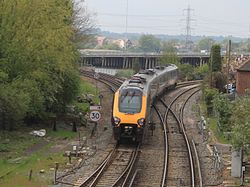 Redbridge Junction - CrossCountry 220004 diverted to Basingstoke.JPG