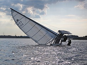 Capsizing - Righting a capsized Hobie Cat
