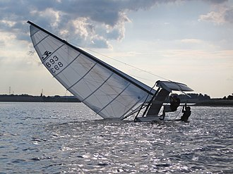 Turtling (sailing) - Righting a capsized Hobie Cat.