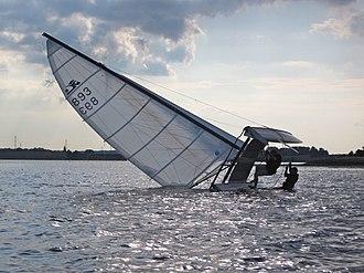 Capsizing - Righting a capsized Hobie Cat