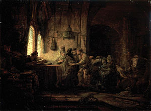 Parable of the Workers in the Vineyard - Painting of the parable by Rembrandt, showing the workers being paid that evening (1637)