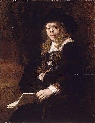Gerard de Lairesse - Rembrandt's portrait of Gerard de Lairesse at age 25, showing his saddle nose.  Oil on canvas, ca. 1665-67.  Metropolitan Museum of Art.