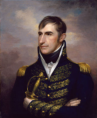 This portrait of Harrison originally showed him in civilian clothes as the congressional delegate from the Northwest Territory in 1800, but the uniform was added after he became famous in the War of 1812. Rembrandt Peale - William Henry Harrison - Google Art Project.jpg