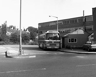 The Witch Way - Ribble Motor Services coach on the later withdrawn route 743 in Earby in August 1983