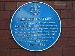 Photo of Richard Oastler blue plaque