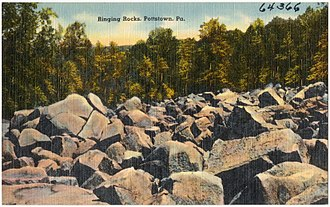Ringing rocks - A postcard depicting a scene from Ringing Hill Park.