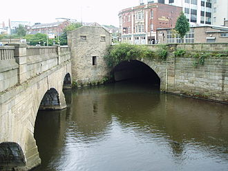 River Sheaf - The River Sheaf emerging from its culvert to join the Don by Blonk Street bridge