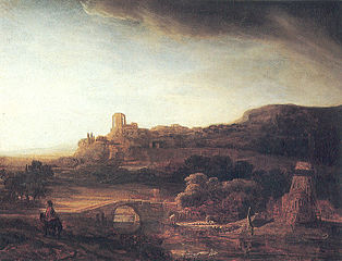 Landscape with ruins and windmill
