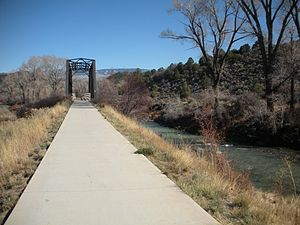 Ridgway, Colorado - Path along the Uncompaghre river that leads from the town to the reservoir