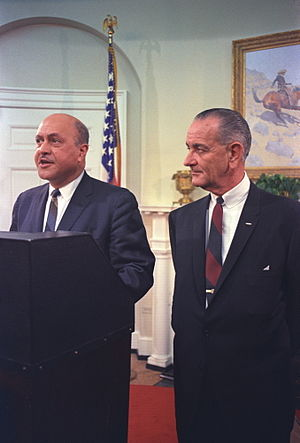 Robert C. Weaver - Weaver with Lyndon Johnson at the White House for his swearing-in ceremony, 1966.