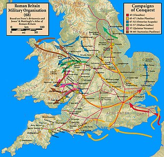 Roman conquest of Britain - Roman campaigns from AD 43 to AD 60.