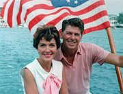 Ronald Reagan and Nancy Reagan aboard a boat in California 1964
