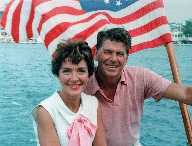 Ronald Reagan and Nancy Reagan aboard a boat in California 1964.jpg