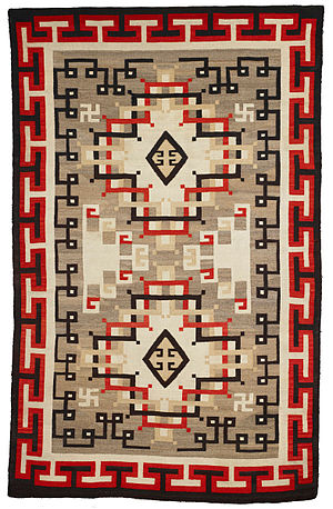 Crystal, New Mexico - A Navajo wool rug in the Early Crystal style, including swastikas in the design, date 1900-1920 AD