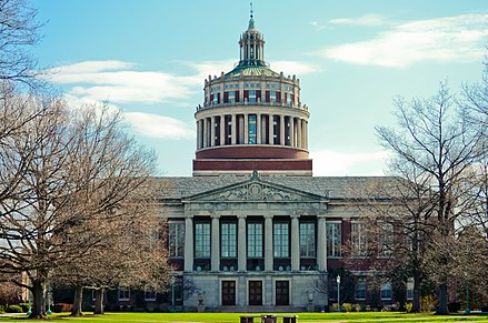 Rush Rhees Library at the University of Rochester, the largest employer in the six-county metropolitan area. Rush Rhees Library (8695462255).jpg