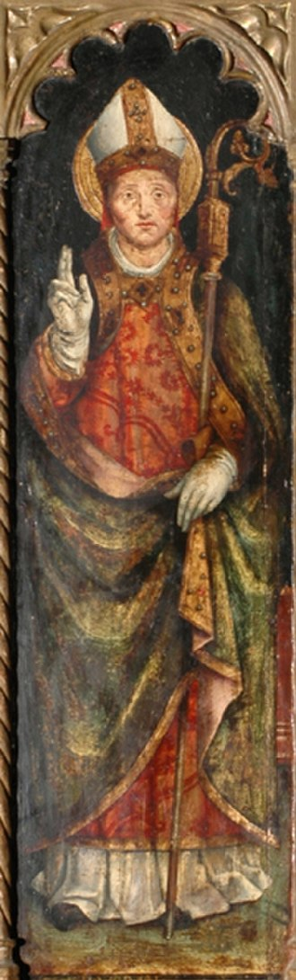 Veranus of Cavaillon - Saint Veranus is represented with episcopal vestments in the traditional posture of a bishop-saint blessing, with his crozier and mitre.