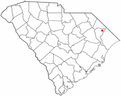Location of Mullins in South Carolina