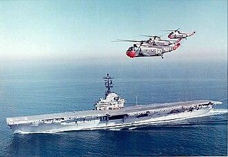 Anti-submarine warfare carrier - Image: SH 3A Sea Kings of HS 6 flying over USS Kearsarge (CVS 33) c 1963