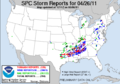 SPC Severe weather reports 21110426.png