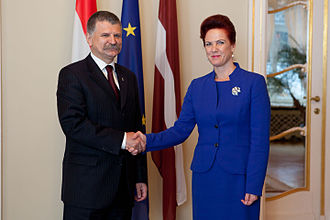 László Kövér - Kövér with Latvian House Speaker Solvita Āboltiņa in 2012