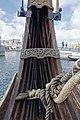 Saga Oseberg Details Stern detail wood carvings ropes etc (utskjæringer i akterstavnen). Viking ship replica 2012 Tønsberg harbour Kaldnes bro footbridge etc Norway 2019-08-16 04304.jpg