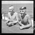 Sailors who had heads clipped in bizarre designs during Neptune party aboard the USS Saratoga (CV-3). - NARA - 520889.tif