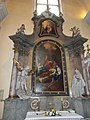 Saint Catherine Church. Saint Joseph altar. Statues of Saint Michael and Prince Imre. - Budapest.JPG