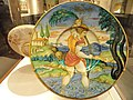 Saint Christopher dish, probably painted by Nicola di Gabriele Sbraga (Nicola da Urbino) of Urbino, lustred by Maestro Giorgio Andreoli of Gubbio, c. 1530 - Nelson-Atkins Museum of Art - DSC08611.JPG